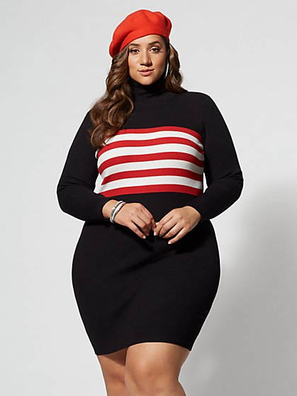 Plus Size Fiona Striped Sweater Dress - Fashion To Figure