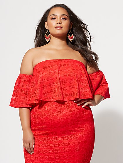 Plus Size Fiorella Eyelet Crop Top - Fashion To Figure