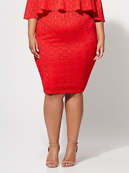 Plus Size Fiorella Eyelet Pencil Skirt - Fashion To Figure