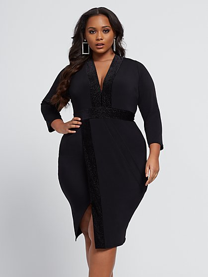 Plus Size Flavia Asymmetric Velvet Trim Dress - Fashion To Figure