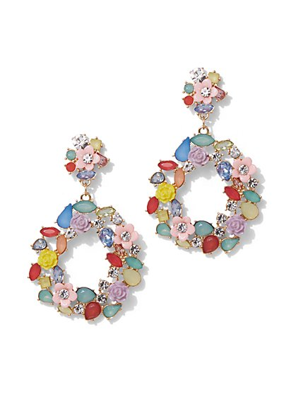 Plus Size Floral Dangle Hoop Earring - Fashion To Figure