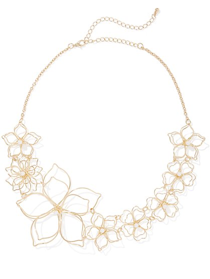 Plus Size Floral Wire Necklace - Fashion To Figure