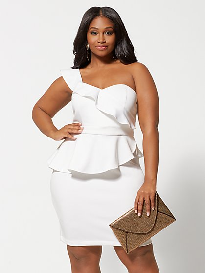 Plus Size Floria One Shoulder Bodycon Dress - Fashion To Figure
