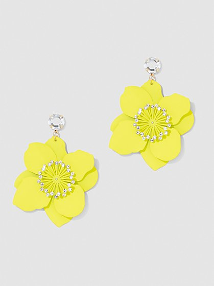 Plus Size Flower Drop Earrings - Fashion To Figure