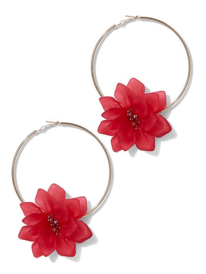 Plus Size Flower Hoop Earrings - Fashion To Figure