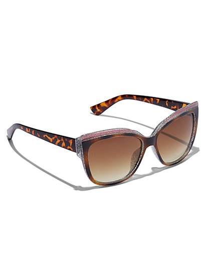 Plus Size Frame Detail Cheetah Sunglasses - Fashion To Figure