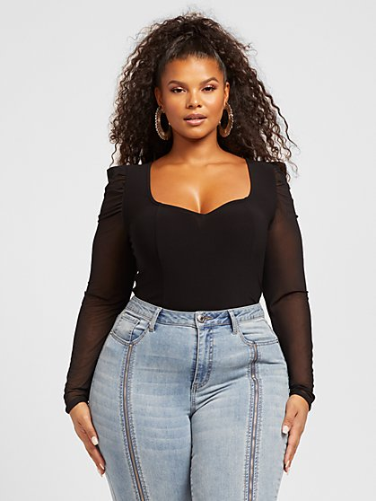 Plus Size Francesca Puff Sleeve Crepe Top - Fashion To Figure