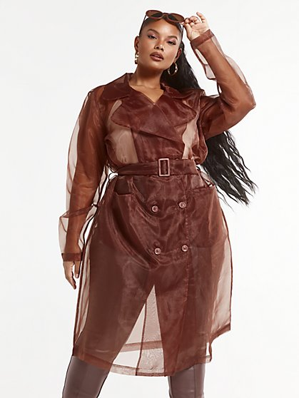 Plus Size Francine Organza Trench Coat - Fashion To Figure