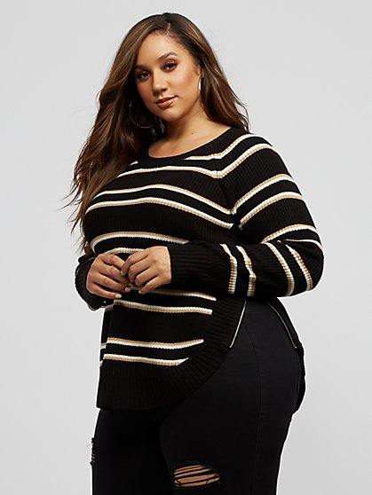 Plus Size Franki Stripe Side-Zip Sweater - Fashion To Figure