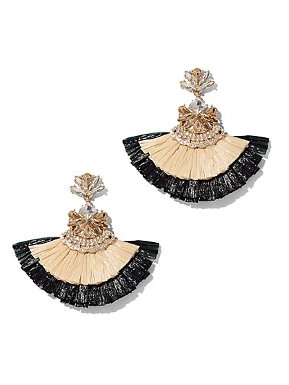 Plus Size Fringe Straw Earrings - Fashion To Figure