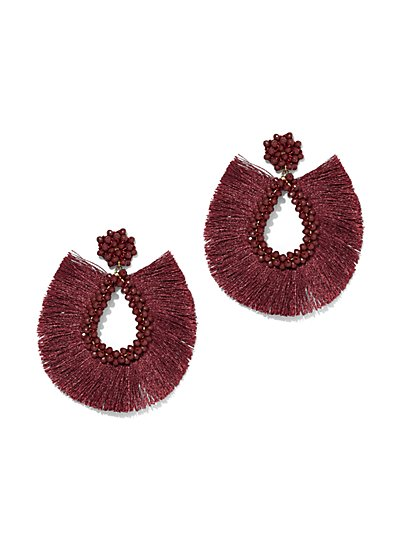 Plus Size Fringe Teardrop Beaded Earring - Fashion To Figure