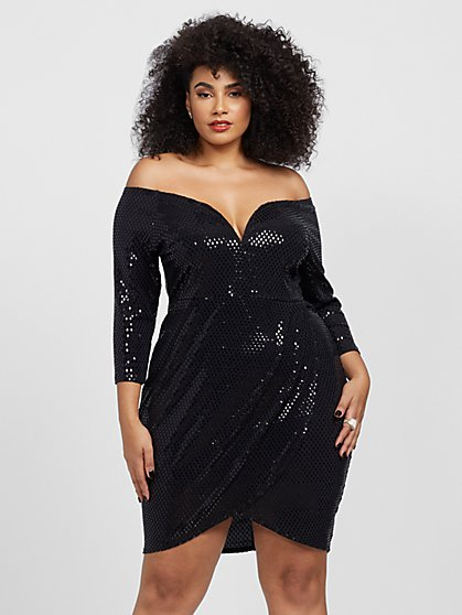 Plus Size Gabriela Off Shoulder Sequin Dress - Fashion To Figure