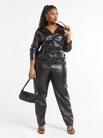Plus Size Geena Faux Leather Jumpsuit - Fashion To Figure