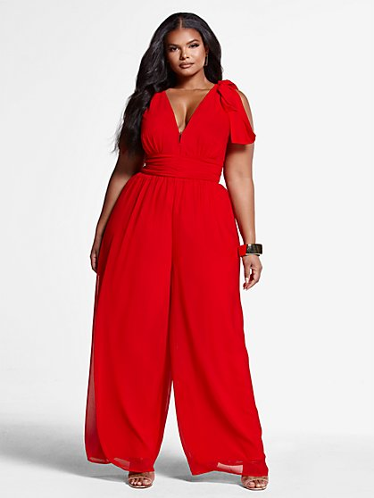 Plus Size Gemma Chiffon Jumpsuit - Fashion To Figure