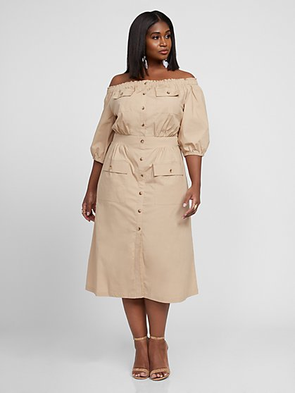Plus Size Gemma Off The Shoulder Button Dress - Gabrielle Union x FTF - Fashion To Figure