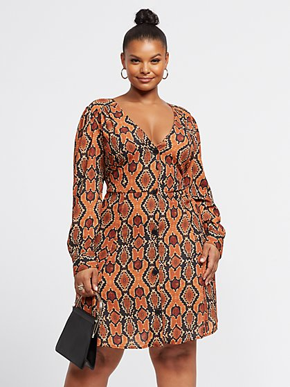 Plus Size Genesis Snake Print Button-Up Dress - Fashion To Figure