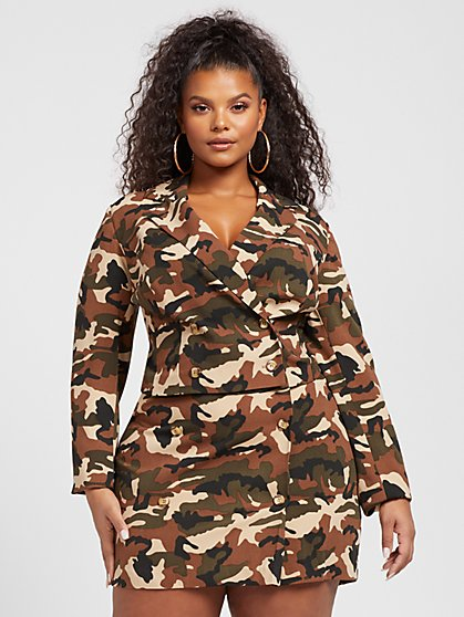 Plus Size Geneva Camo Cropped Blazer - Gabrielle Union x FTF - Fashion To Figure