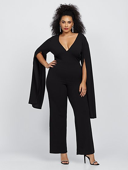 Plus Size Genevieve Statement Sleeve Jumpsuit - Fashion To Figure