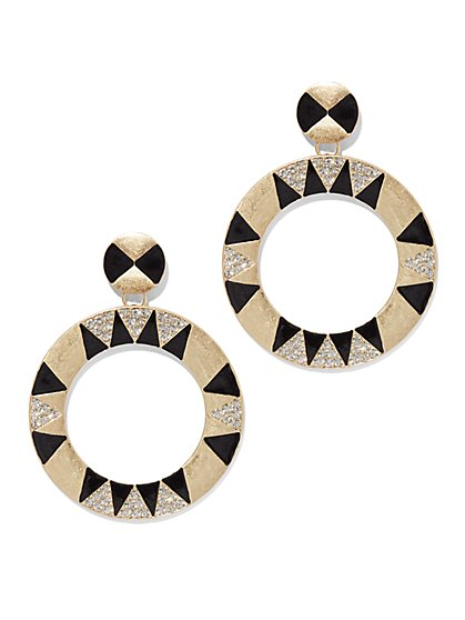 Plus Size Geometric Detail Hoop Earrings - Fashion To Figure