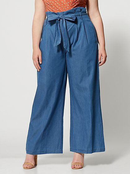 Plus Size Georgette Wide Leg Chambray Pant - Fashion To Figure