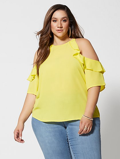 Plus Size Georgia Coldshoulder Ruffle Blouse - Fashion To Figure