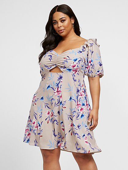 Plus Size Georgia Floral Flare Dress - Fashion To Figure