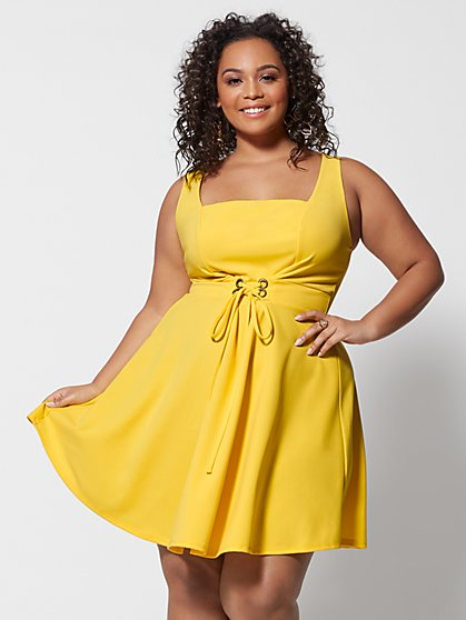 Plus Size Georgie Lace-Up Flare Dress - Fashion To Figure