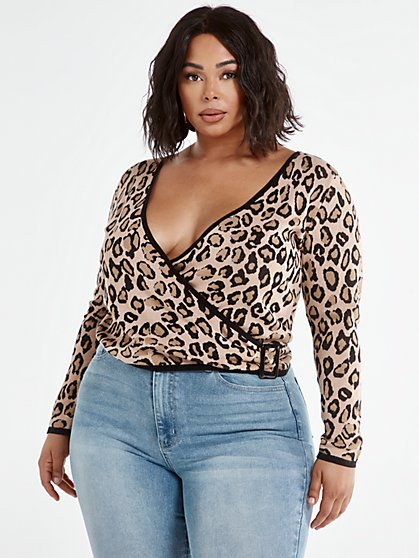 Plus Size Georgina Leopard Print Wrap Sweater with Belt Buckle - Fashion To Figure