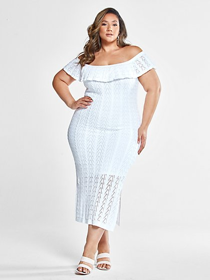 Plus Size Georgina Off The Shoulder Crochet Dress with Slit - Fashion To Figure