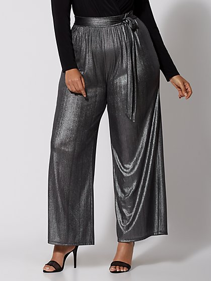 GiGi Metallic Tie-Waist Pants - New York & Company