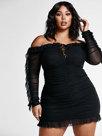 Plus Size Gia Ruched Off The Shoulder Mesh Dress - Fashion To Figure