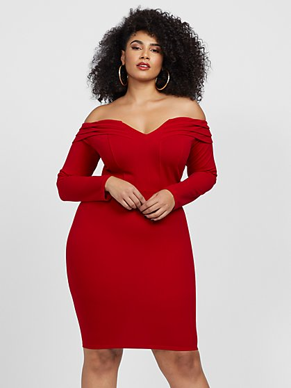 Plus Size Gianina Off Shoulder Bodycon Dress - Fashion To Figure