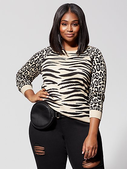 Plus Size Gianna Animal-Print Sweater - Fashion To Figure
