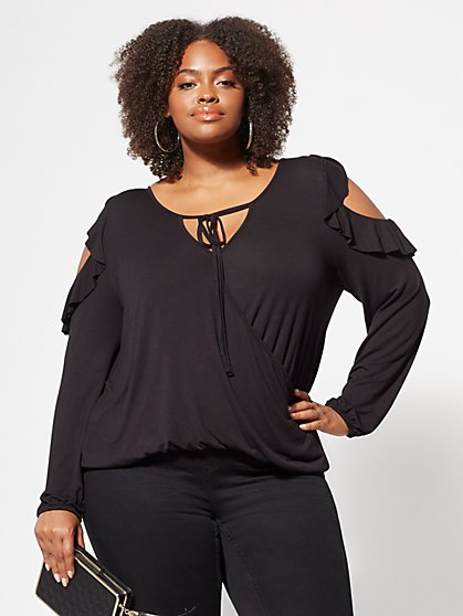 Plus Size Gianna Cold-Shoulder Top - Fashion To Figure