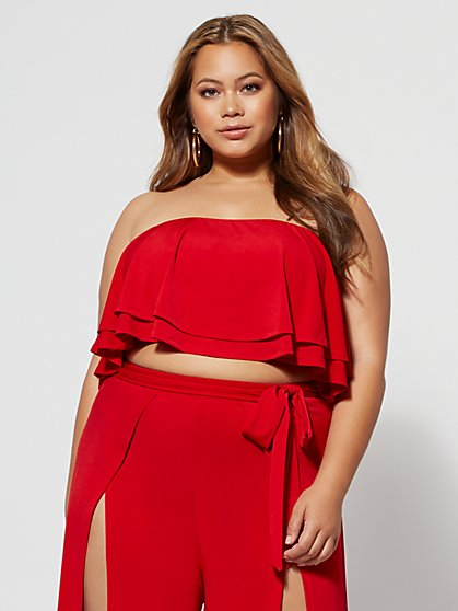 Plus Size Gianna Ruffle Crop Top - Fashion To Figure