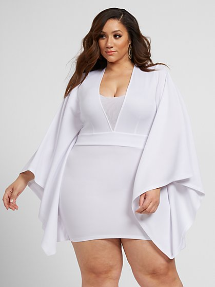 Plus Size Giavanna Scuba Knit Dress with Drama Sleeves - Fashion To Figure