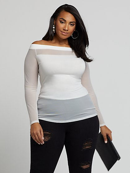 Plus Size Gigi White Mesh Off the Shoulder Top - Fashion To Figure