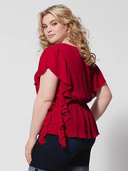 c366a9a0bb ... Plus Size Gillie Red Ruffle Side Peplum Top - Fashion To Figure ...