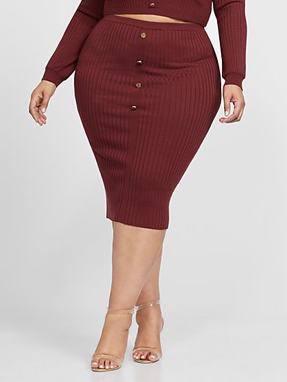 Plus Size Gina Marie - Button Detail Pencil Skirt - Fashion To Figure