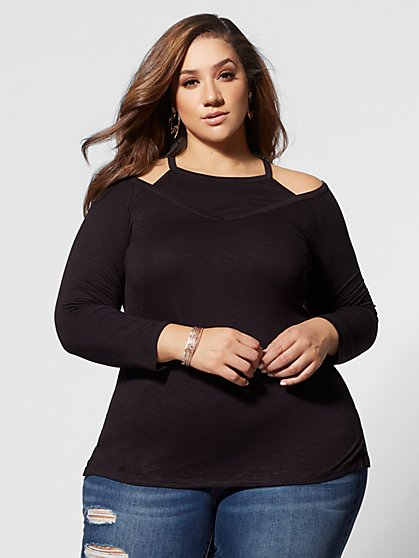Plus Size Ginger Cold-Shoulder Top - Fashion To Figure