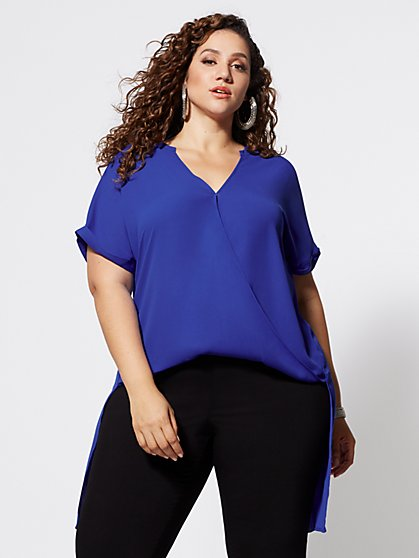 Plus Size Giovanna Drape Hi-Lo Blouse - Fashion To Figure