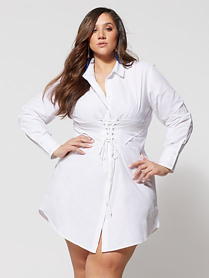 a70fe7c7a5 Plus Size Girl Boss Corset Shirt Dress - Fashion To Figure ...