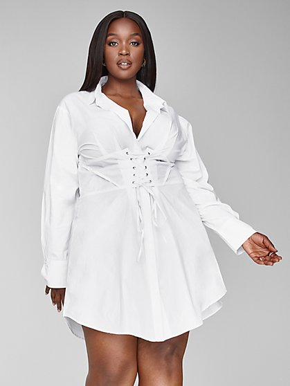 Plus Size Girl Boss Corset Shirt Dress - Fashion To Figure