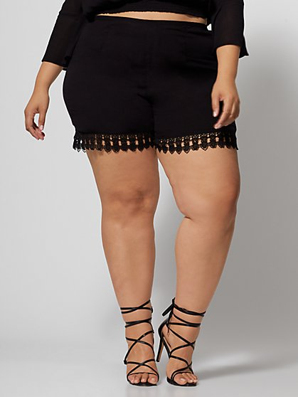 Plus Size Gisela Lace Detail Shorts - Fashion To Figure