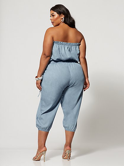 a4b2e05fe5 ... Plus Size Giselle Denim Cargo Jumpsuit - Fashion To Figure ...