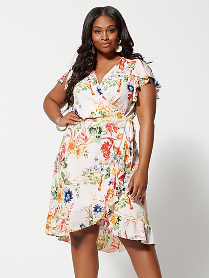 Plus Size Giuliana Floral Wrap Dress - Fashion To Figure