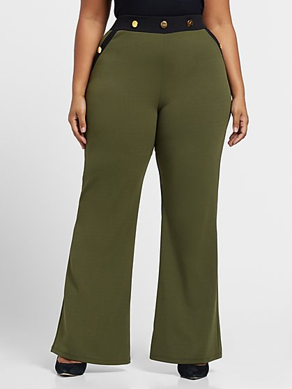 Plus Size Goal Digger - Button Detail Flare Pants - Fashion To Figure
