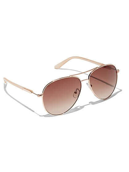 Plus Size Gold Aviator Sunglasses - Fashion To Figure