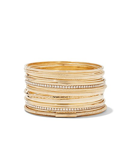 Plus Size Gold Bangle Set - Fashion To Figure