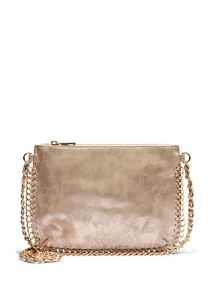 Plus Size Gold Metal Chain Crossbody Bag - Fashion To Figure